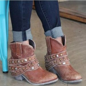 Free People Corral Studded Strap Ankle Booties